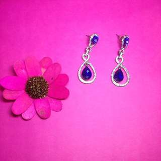 Silver aqua blue earrings