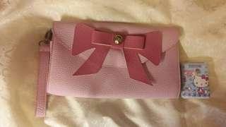 Wallet Bag 粉紅色蝴蝶結銀包袋,HKD $40
