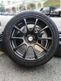 Advan rs2 16 inch sports rim alza tyre 90%. *mora mora kasi you*