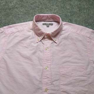 UNIQLO Button Down Soft Pink Oxford Shirt Long Sleeve