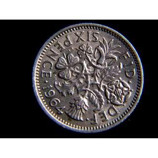 1964年英國四國國花6便士鎳幣(英女皇伊莉莎伯二世像)