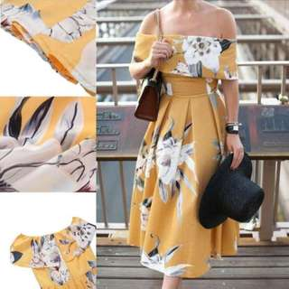 Yellow Off Shoulder Dress Floral