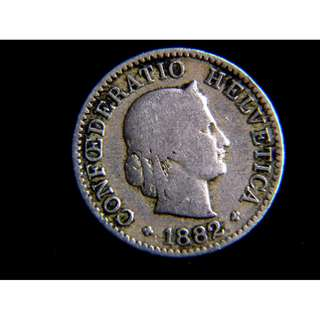 1882年瑞士聯邦自由女神頭像5勒賓鎳幣