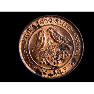 1950年英屬南非對雀1/4便士銅幣(英皇佐治六世像, 原光好品)