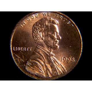 1998年美國故總統林肯及林肯紀念館1仙銅幣(原光)