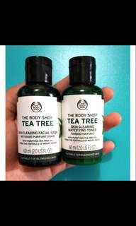 The body shop tea tree facial wash + toner