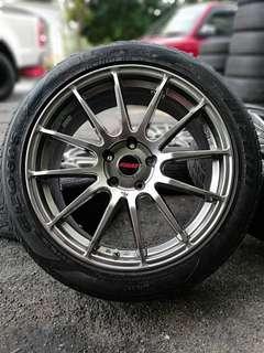 Rays Ze40 18 inch sports rim lancer gt tyre 70%. *mari sini mora mora*