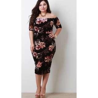 Plus Size Floral Bodycon Dress - COD