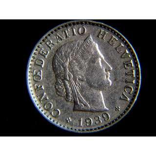 1939年瑞士聯邦自由女神頭像20勒賓鎳幣