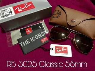 Authentic Ray-Ban Sunglasses RB 3025 Classic Aviator 58mm