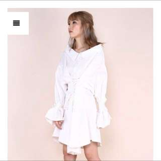 white complicated dress