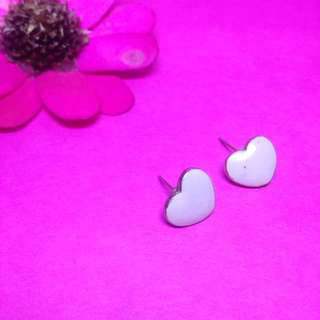 Baby pink heart earrings
