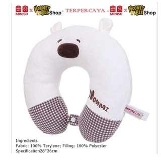Japan Quality - Bantal Leher Noumi Bear Miniso Neck Pillow