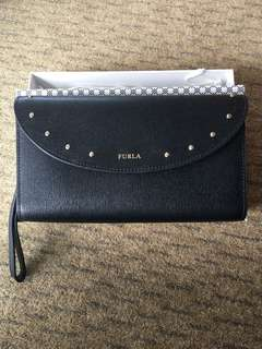 Original Brand New Furla Gioia XL Bifold Wristlet - Black with Gold Studs