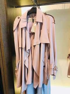 Burberry 專櫃正品款 真絲粉色風衣
