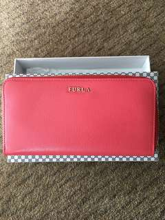 Original Brand New Furla Babylon XL Zip Around Wallet - Coral