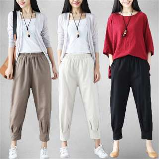 (M~XL) Leisure cotton and linen wide leg pants women retro solid color nine pants harem pants