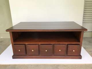 Teakwood TV console with drawers