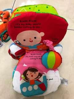 美國英文電話布書 手搖鈴抓握 嬰幼兒啟蒙玩具 全新合售