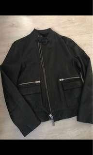 超新二手美品 英國品牌 ALL SAINTS 黑色立領小羊皮 皮衣外套 S號   $16000(免運)
