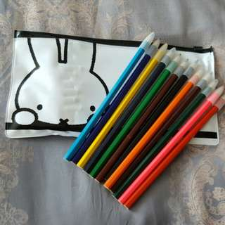 Brand New Miffy Bunny Rabbit Pencil Case with 12 Colouring Pencils