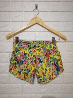 Yellow floral soft denim shorts