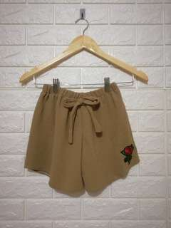 Brown flower patch crepe cute candy shorts