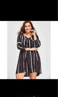 PLUS SIZE Stripe V-neck Dress