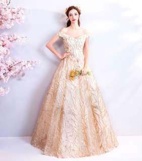 🚚 2018天使的嫁衣婚紗禮服新款 金色新娘敬酒服生日派對晚宴年會婚紗禮服伴娘服