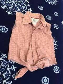 POLO俏皮甜美絨棉排扣下綁帶造型背心