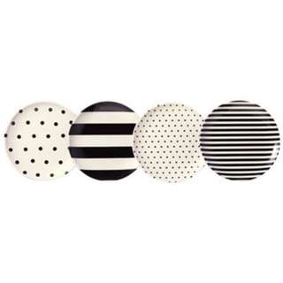 KATE SPADE NEW YORK® RAISE A GLASS COASTERS – SET OF 4, BLACK & WHITE by Kate Spade New York