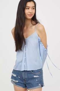 🚚 OshareGirl 05 歐美女士條紋露肩長袖襯衫