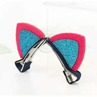 Glitter cat ears hair clip