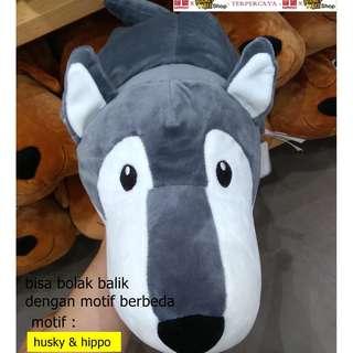Japan Quality - Boneka dua sisi Husky & Hippo Miniso BAGUS BANGET