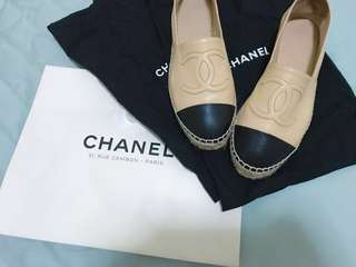 🚚 Chanel 羊皮經典膚色厚底 鉛筆鞋36號