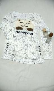 Happy Cat Longsleeve (Dirty White)