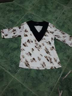 Brown flowered blouse
