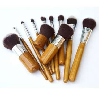 Kabuki Set Bamboo Wooden Kuas MakeUp 11pcs 11 pcs Make Up Brush Pouch