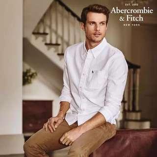 🚚 🌐《預》美國代購正品 Abercrombie Fitch 男款 牛津純色休閒襯衫上衣 AF 純棉長袖襯衫 多色可選