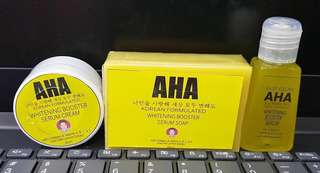 AHA Set of 3 Whitening Booster Cream, Soap & Fast Glow Serum