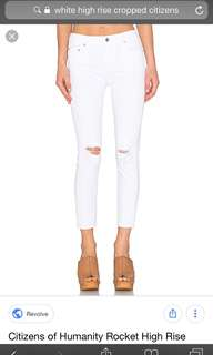BRAND NEW CITIZEN OF HUMANITY HIGH RISE CROPPED SKINNY