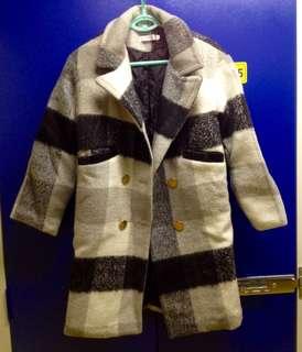 黑白色格紋格子羊毛毛呢大衣