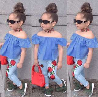 Girl blue top + rose pants