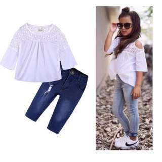 Girls sleeve white short + jeans