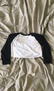 AMERCAIN APPAREL CROPPED BASEBALL TEE