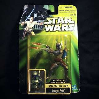 "Hasbro Star Wars POTJ Power Of The Jedi - Attack of the Clones JANGO FETT [Sneak Preview] 3.75"" (2002)"