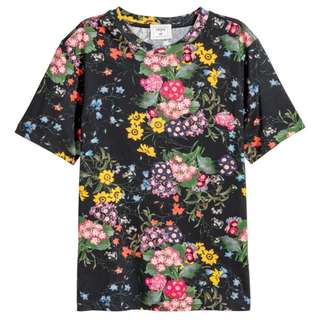 BN Erdem x H&M Floral T-Shirt Top XS Flowers Shirt Black