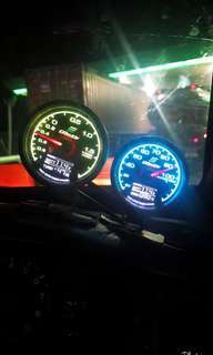 Greddy boost & water temp 7 colours meter gauge