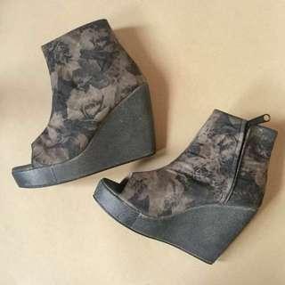 Peep-Toe Wedges Ankle Boots Shoes Sepatu Heels