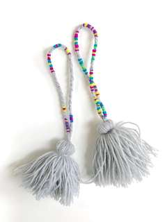 Grey and black tassels chain ascessory